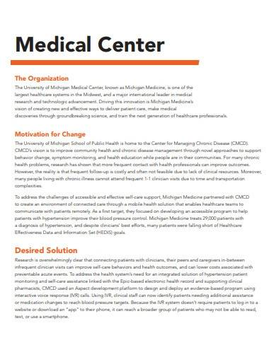 medical center case study template