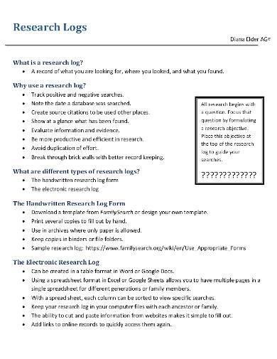 model research log format