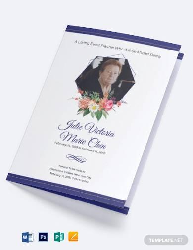mother mom funeral program bi fold brochure