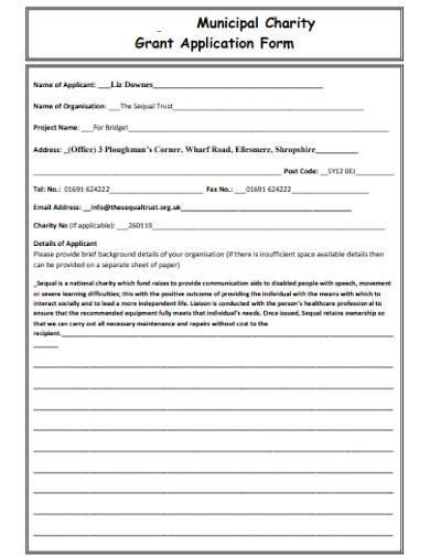 municipal charity grant application form