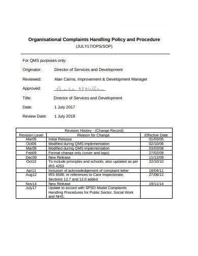 ngo complaints handling policy and procedure