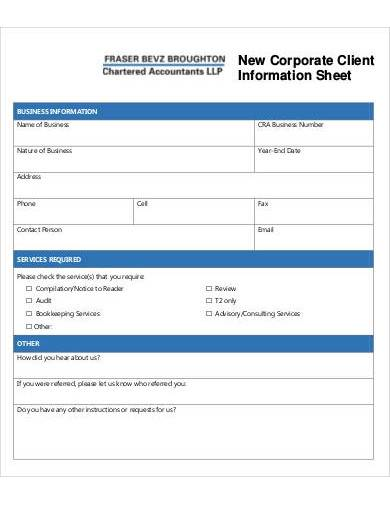 new corporate client information sheet
