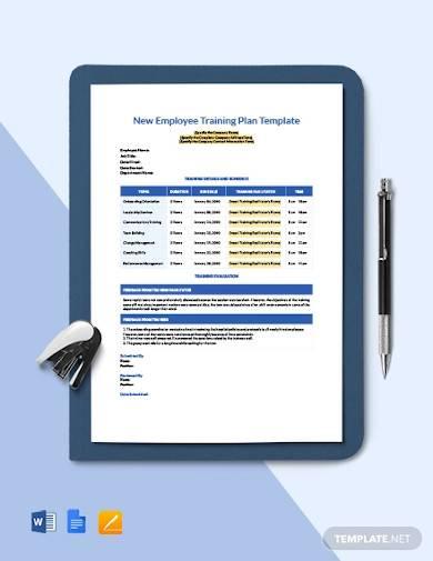 new employee training plan sample