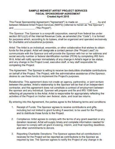 non profit sponsorship agreement template