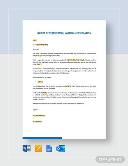 notice of termination work rules violation template
