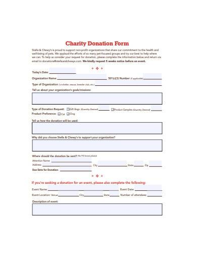 official charity donation form