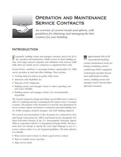 operation and maintenance service contract