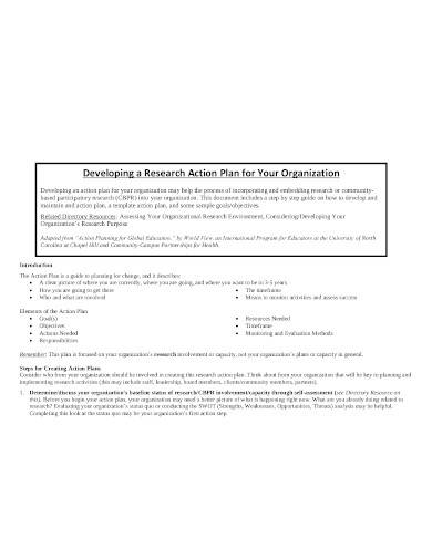 organization research action plan