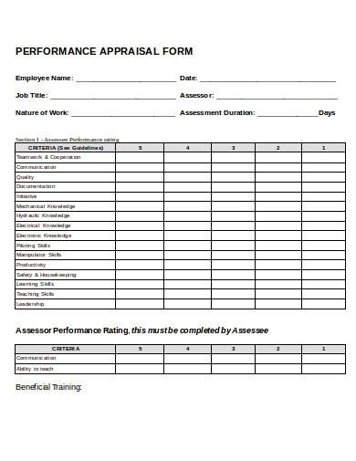 performance appraisal form template