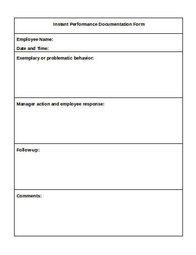 performance documentation form