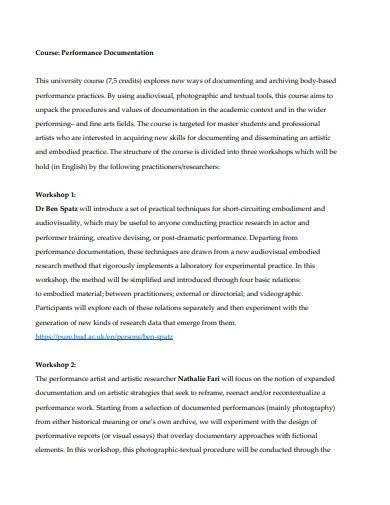 performance documentation template