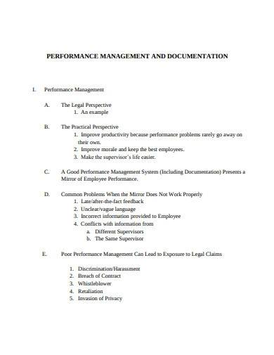performance management and documentation
