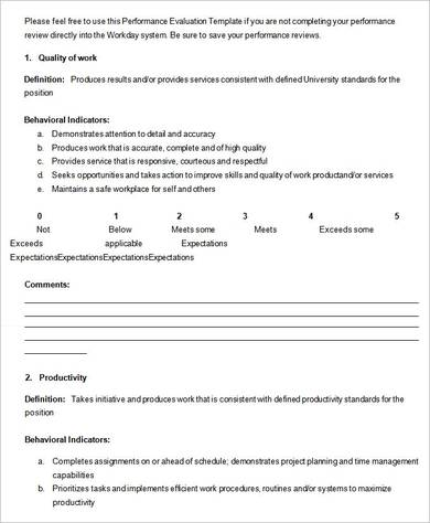 performance review form template