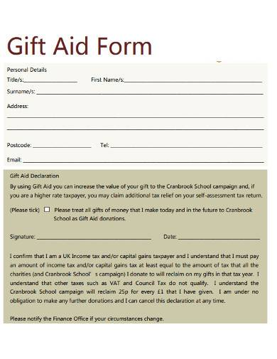 personal charity gift aid form