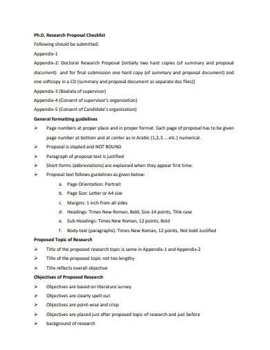 phd research proposal checklist
