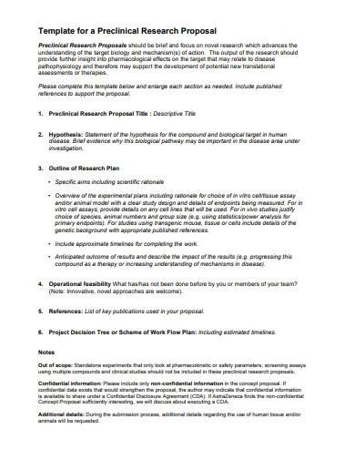preclinical research proposal plan