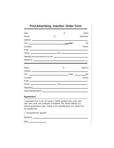 print advertising insertion order form