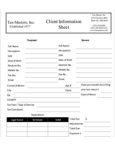 printable client information sheet