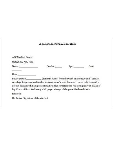 printable doctor's note for work
