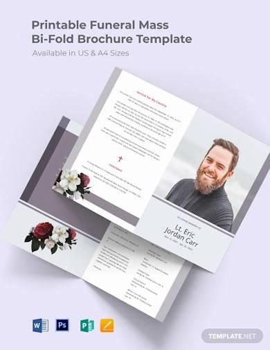 printable funeral program bi fold brochure
