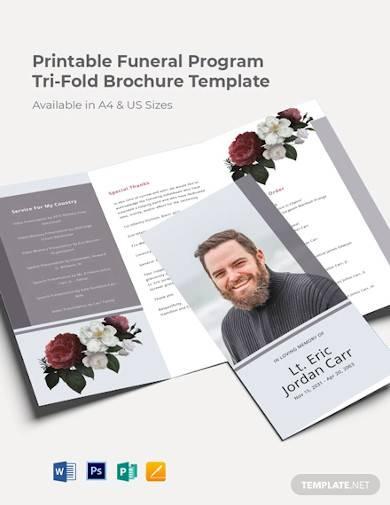printable funeral program tri fold brochure