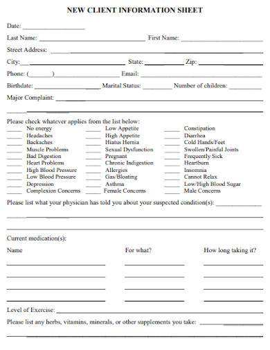 printable new client information sheet