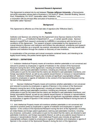 printable sponsored research agreement