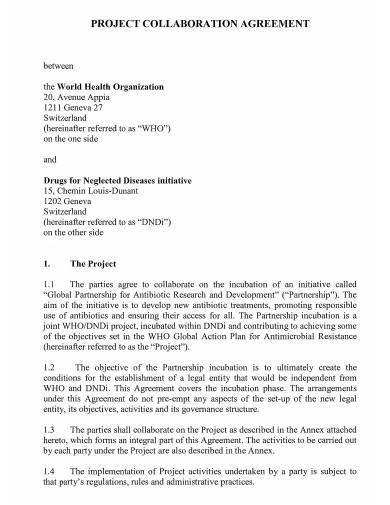 project collaboration agreement template