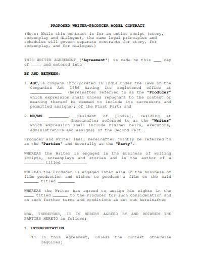 proposed film producer contract