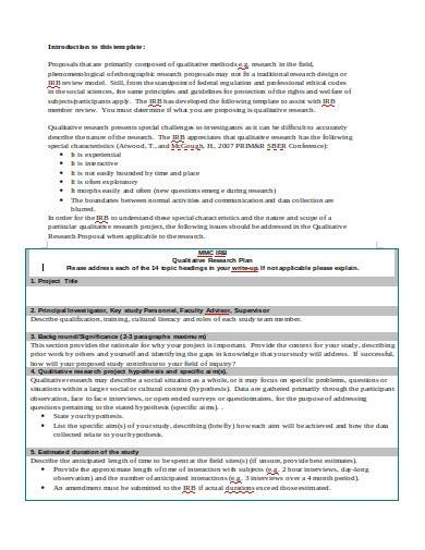 qualitative research plan template