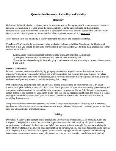 quantitative research format template