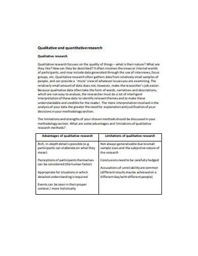 quantitative research template