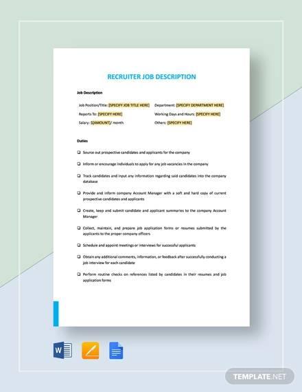 recruiter job description template