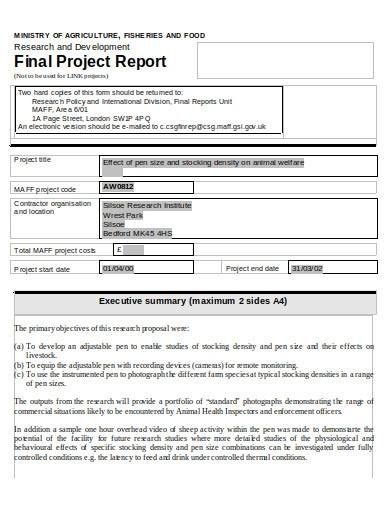research and development final report
