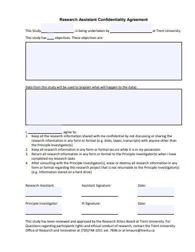 research assistant confidentiality agreement