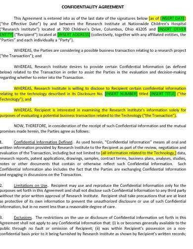 research confidentiality agreement template