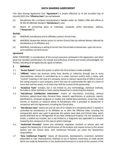 research data sharing agreement sample
