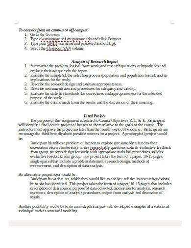research design analysis report template