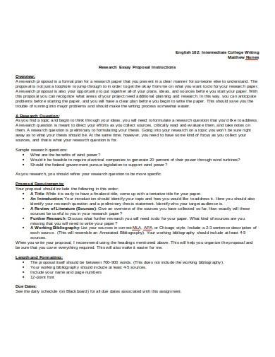 research essay paper proposal