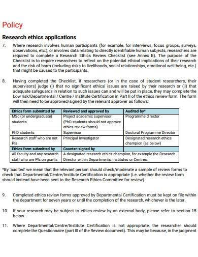 research ethics applications policy