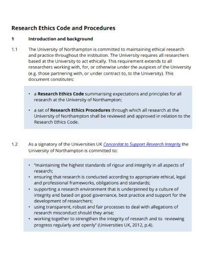 research ethics code and procedures