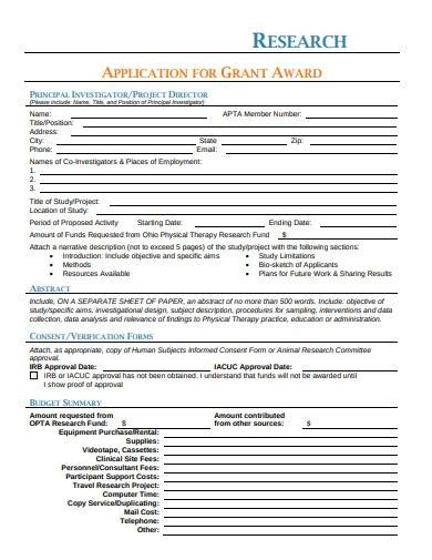 research grant application format