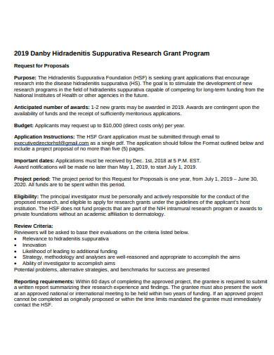 research grant request proposal