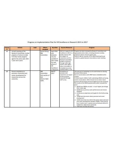 research implementation plan format