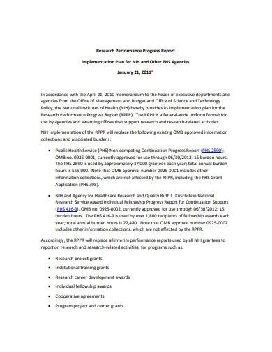 research implementation plan report