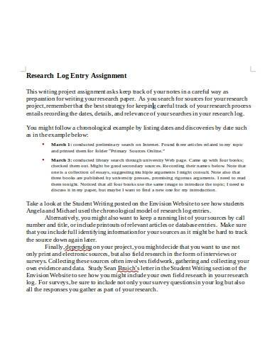 research log entry assignment