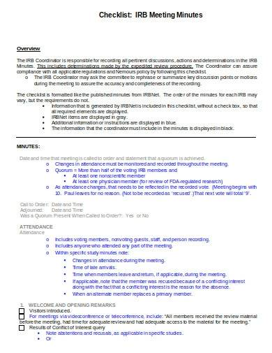 research meeting minutes checklist