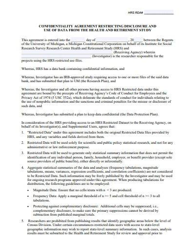 research non disclosure agreement sample