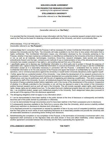 research non disclosure agreement