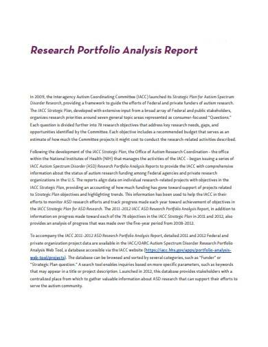 research portfolio analysis report